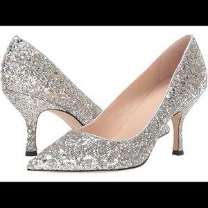 NEW Kate Spade Silver Glitter Heels 8.5